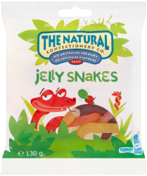 The Natural Confectionery Jelly Snakes/ Jungle Jellies/ Sour Squirms/ Dino Mix/ Party Mix Hanging Bag